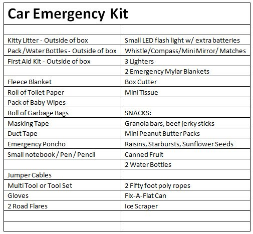 My Car Emergency Kit List. I taped this inside each kit under the lid.