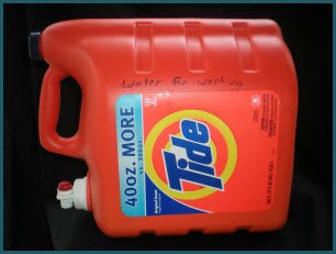 Store your emergency cleaning water in used detergent or bleach jugs.