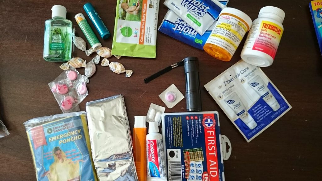 Basic first aid with some extra items.
