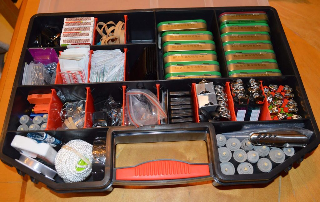 Container with all items for kit