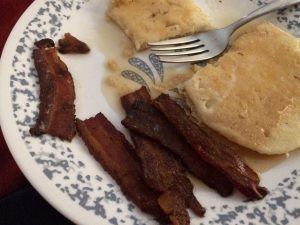 Eating home canned bacon